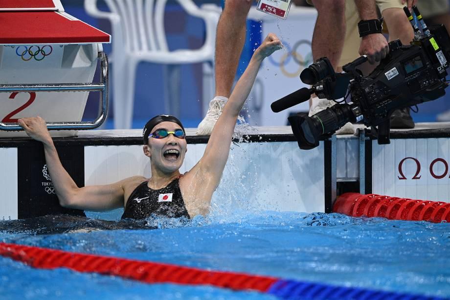 A japonesa Yui Ohashi é filmada ao comemorar vitória nos 200m medley -