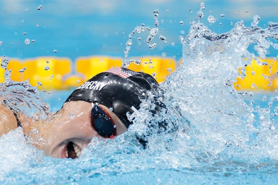 A nadadora Kathleen Ledecky, dos Estados Unidos, na competição dos 1500m livres -