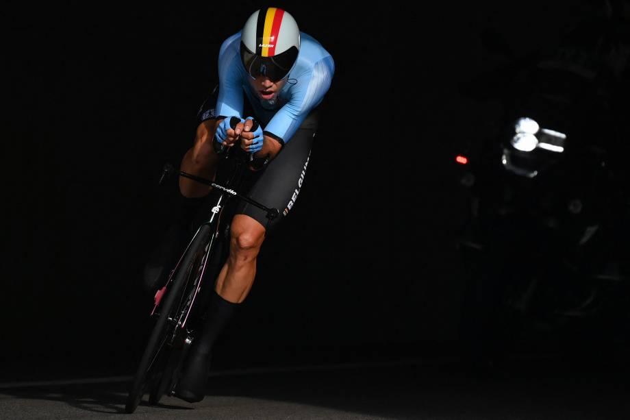 Wout van Aert, da Bélgica, durante prova pelo ciclismo -