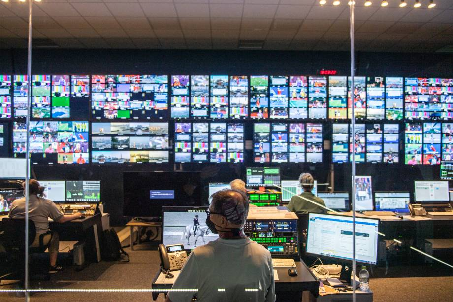 Central de imprensa do Olympic Broadcasting Services (OBS) no International Broadcast Center (IBC) -