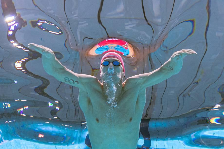 Jeremy Desplanches, da Suíça, em competição da prova dos 200m individual medley masculino -