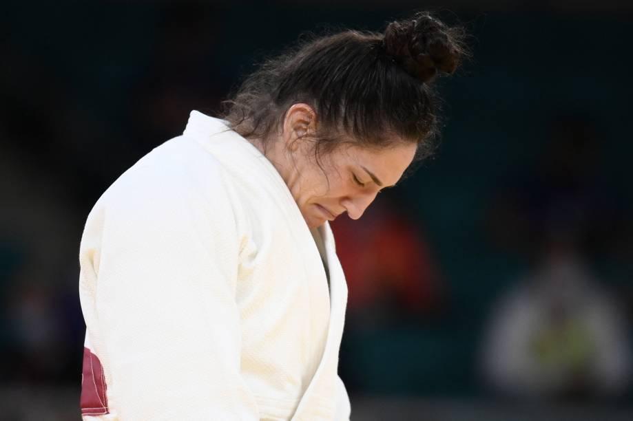 Mayra Aguiar se emociona ao vencer a luta que lhe garantiu a medalha de bronze -