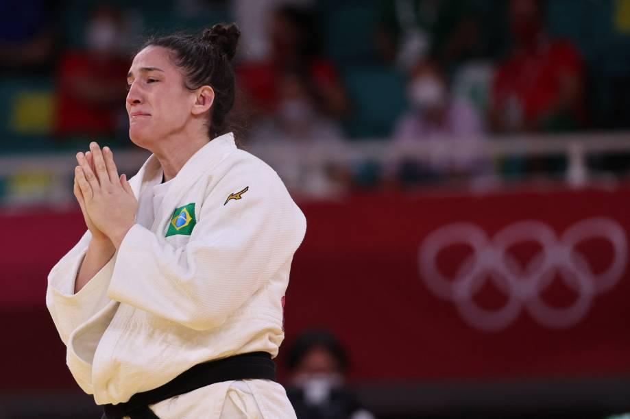 Mayra Aguiar após derrotar Hyunji Yoon, da Coréia do Sul, e garantir o bronze -