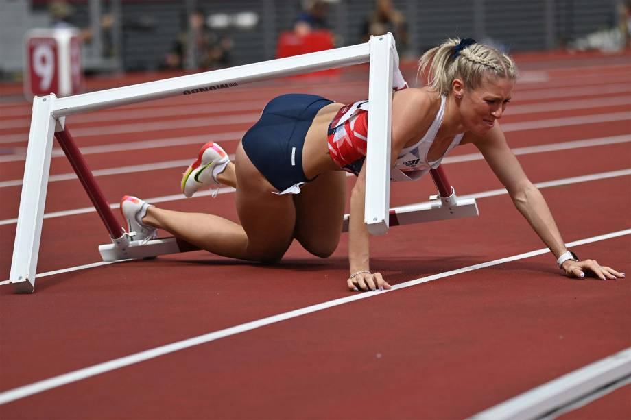 A britânica Jessie Knight durante prova dos 400m com obstáculos -