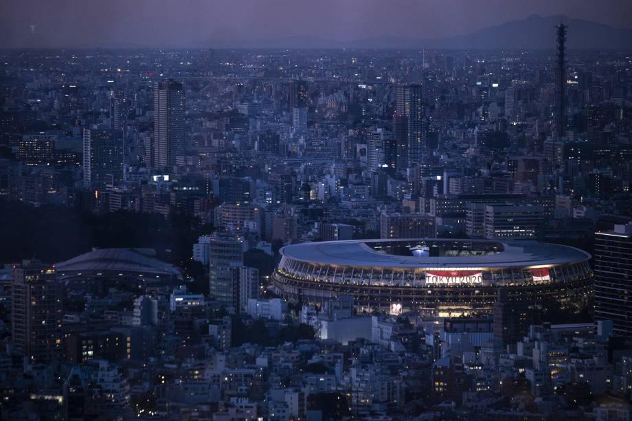 O Estádio Olímpico, o principal local dos Jogos Olímpicos de Tóquio -