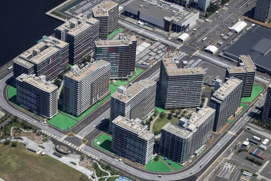 Foto aérea mostra a Vila Olímpica dos Jogos Olímpicos de Tóquio 2020 -