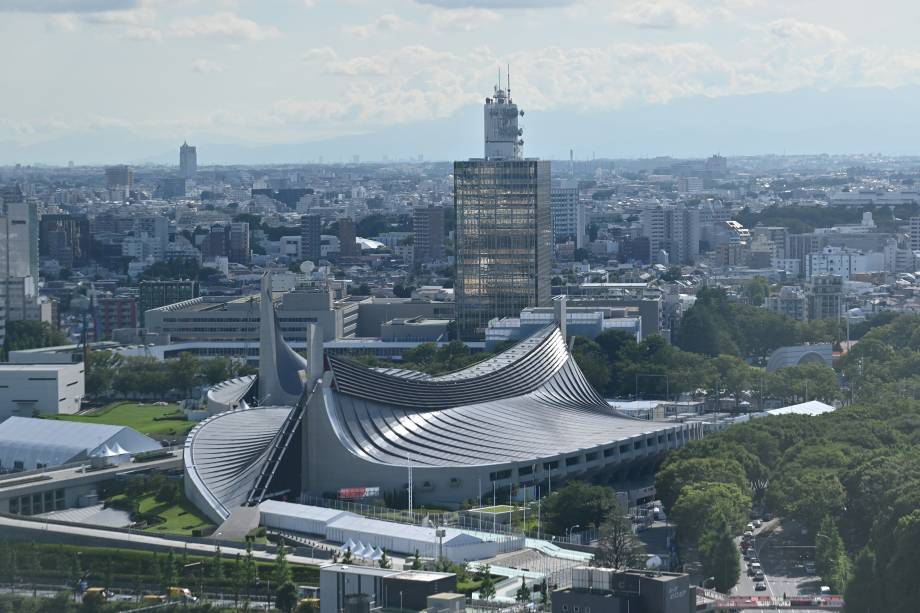 Estádio Nacional de Yoyogi, local para os eventos de handebol, badminton e rúgbi -