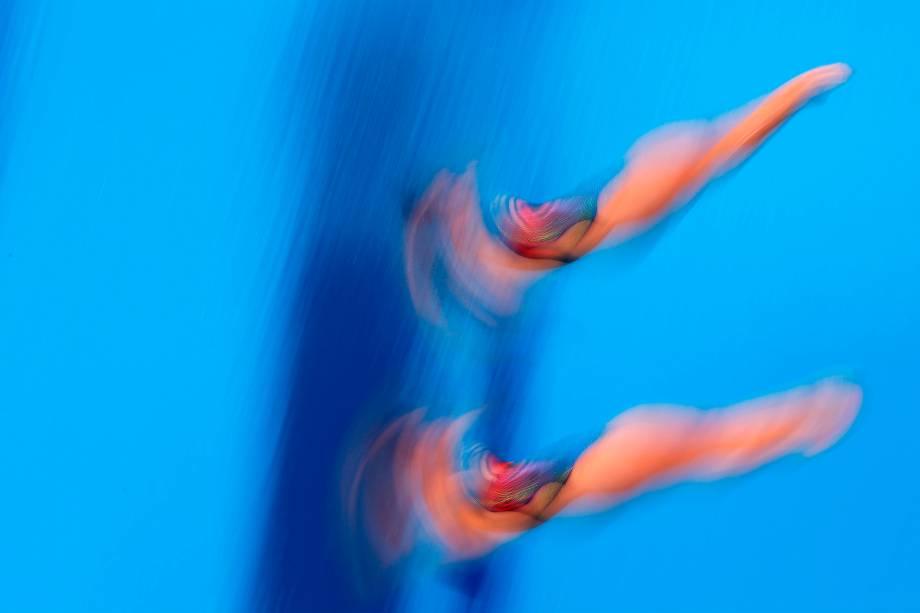 Monzon D Hernaddez e Hernandez Mendoza, do México, durante salto ornamental sincronizado de 3m -