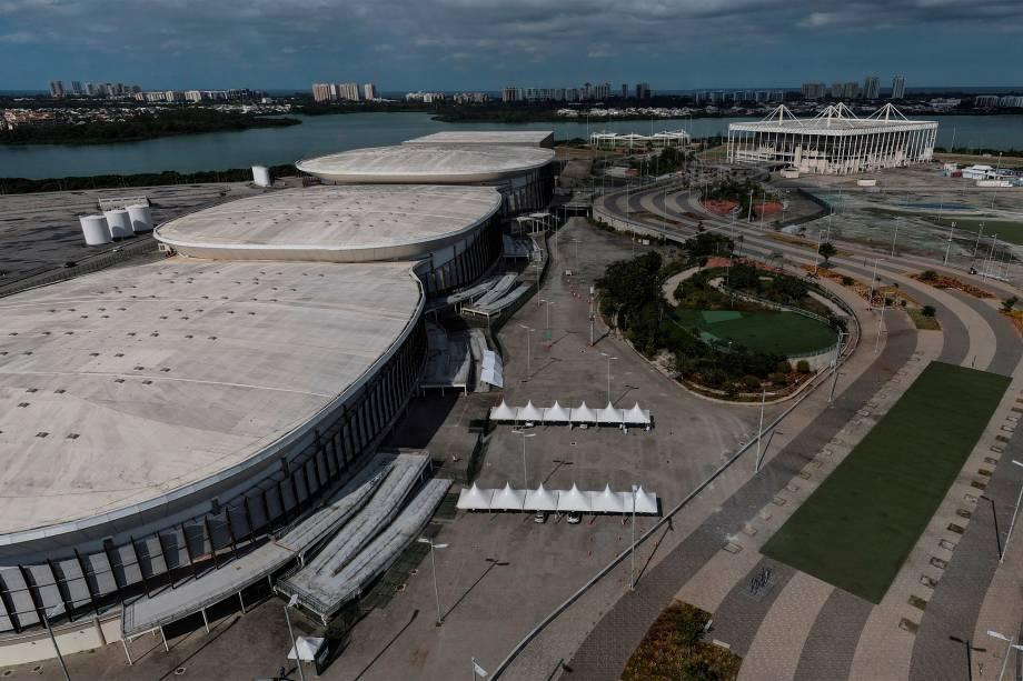 Vista de drone de Vilas Olímpicas, no Rio de Janeiro, atualmente -