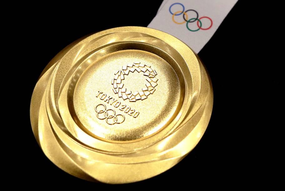 Detalhe da medalha de ouro das Olímpiadas -