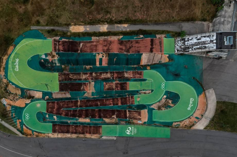 Vista de drone da pista de BMX, em Deodoro, Rio de Janeiro -