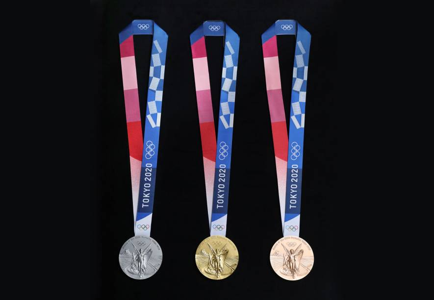Modelo das medalhas que serão distribuídas em Tóquio -