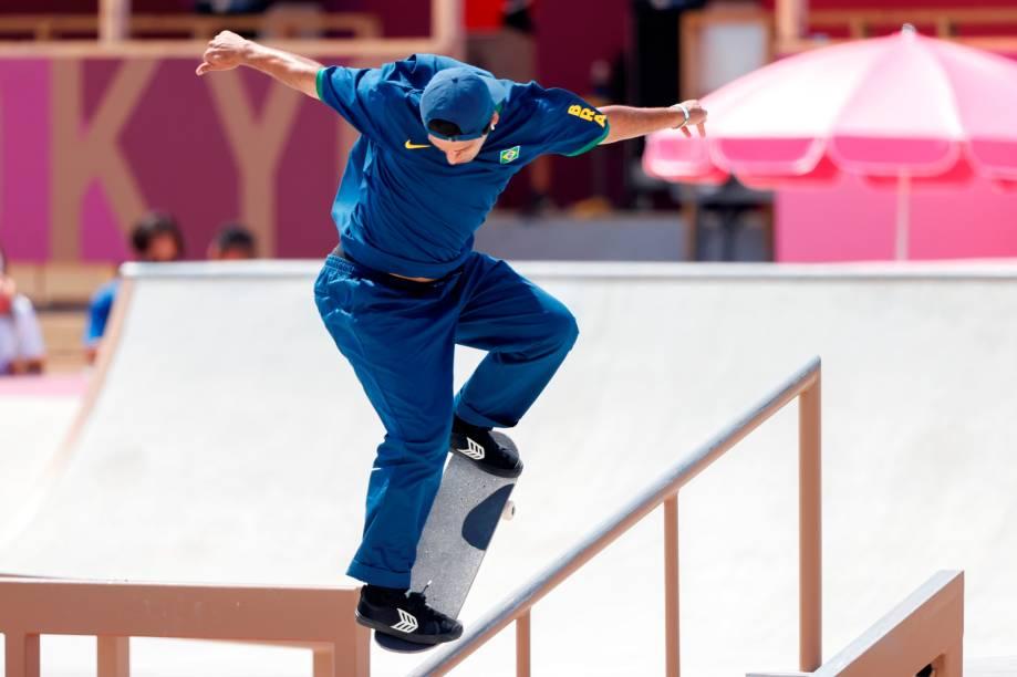 O brasileiro Kelvin Hoefler durante uma de suas apresentações na competição -
