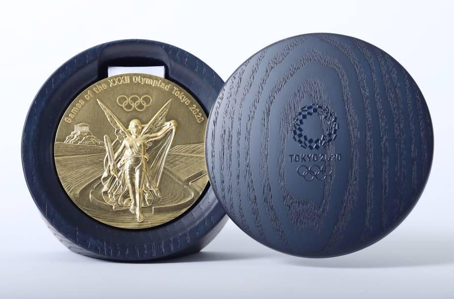Estojo com a medalha olímpica -