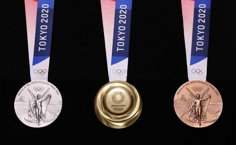 Medalhas de prata, ouro e bronze -