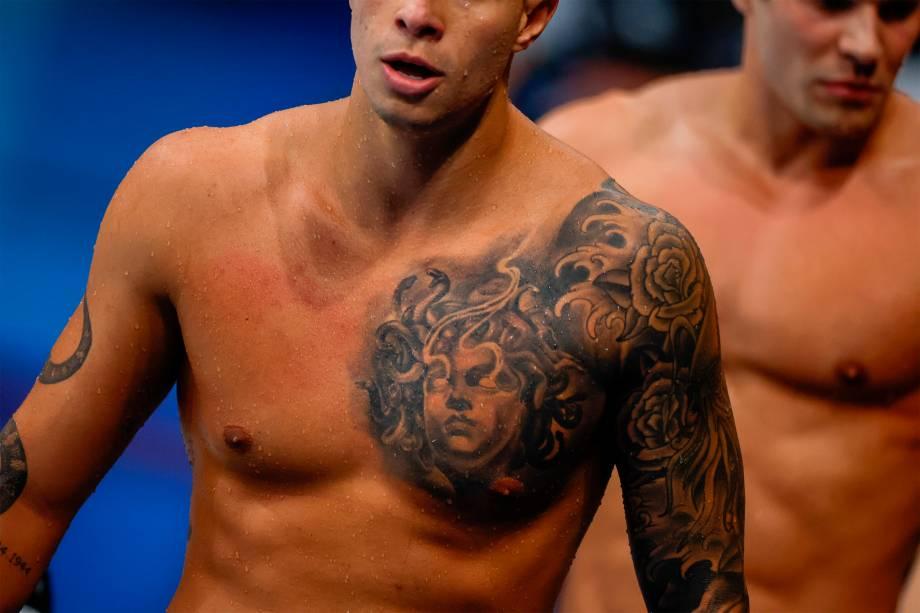 O brasileiro Pedro Spajarj na competição dos 4x100m livres -