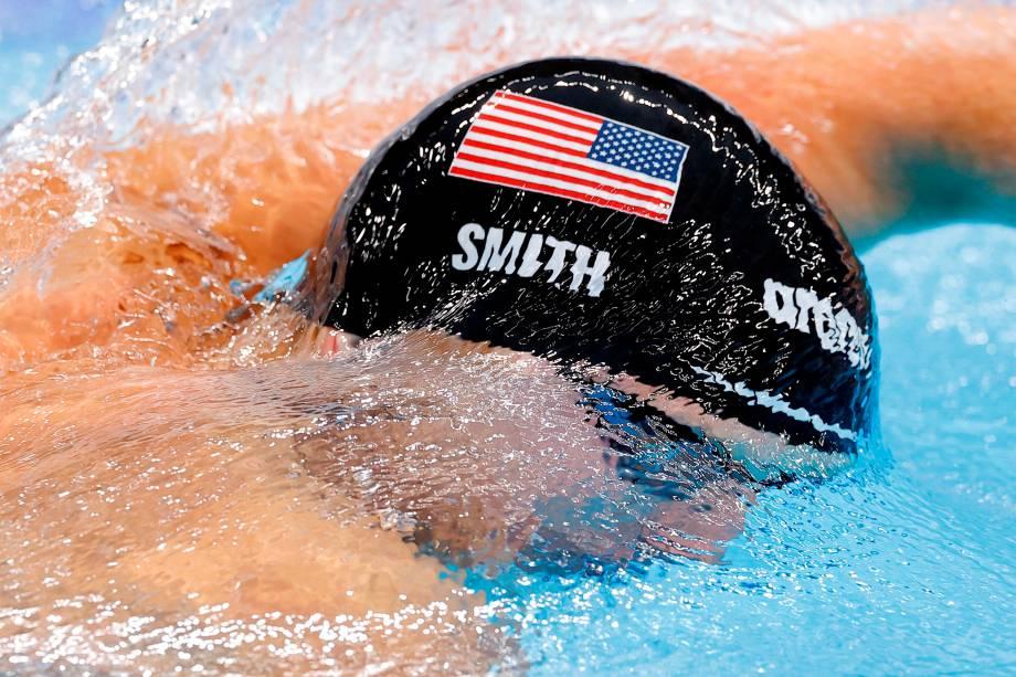 Kieran Smith, dos Estados Unidos, na prova dos 200m livres -
