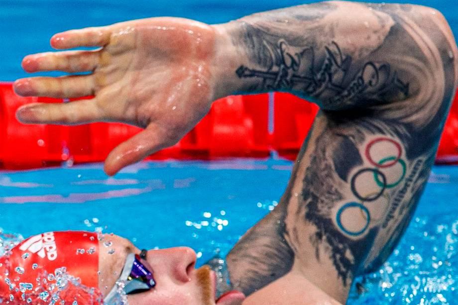 Adam Peaty, da Grã-Bretanha, em treino no Aquatics Center -