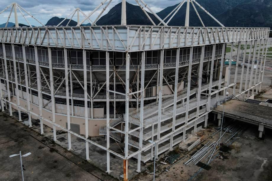 Estádio aquático Olímpico, hoje, no Rio de Janeiro -