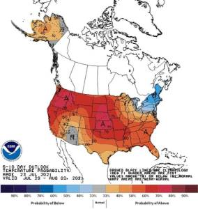 Cúpula de calor sobre a América do Norte, mostrando altas temperaturas previstas em todo o continente.