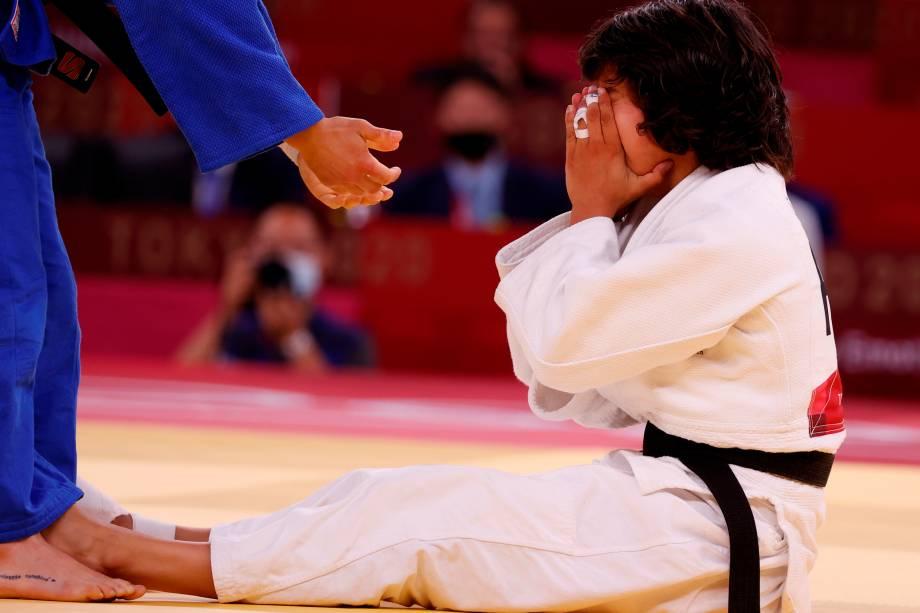 Catarina Costa (branco), de Portugal, comemora após derrotar Paula Pareto, da Argentina -