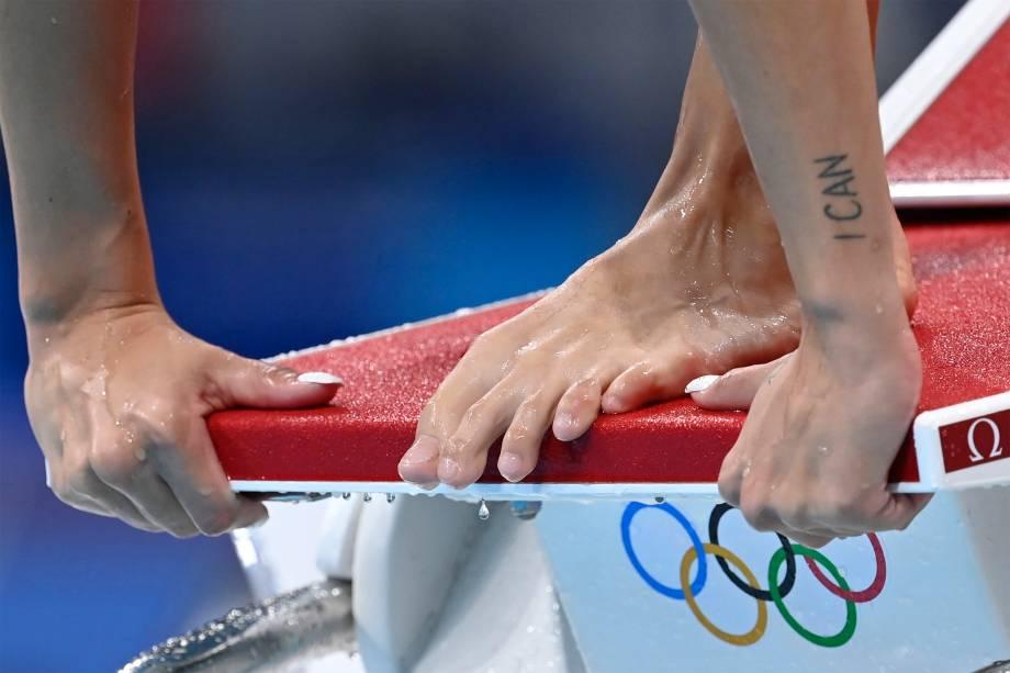 Atleta em treino no Aquatics Centre -