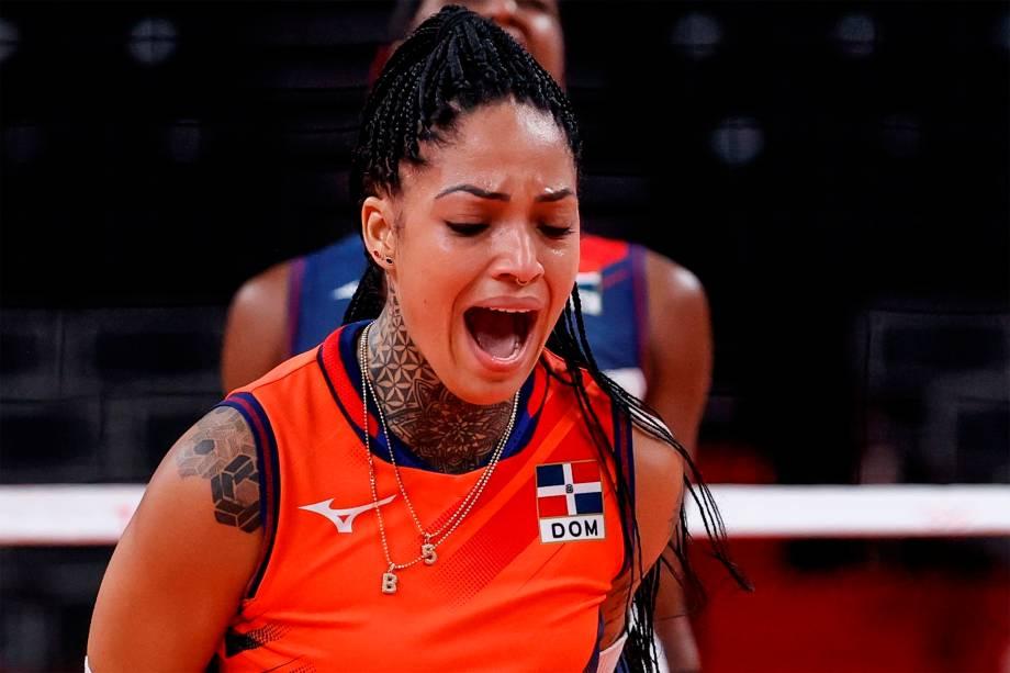 Brenda Castillo, da República Dominicana, em partida de vôlei contra o Brasil -