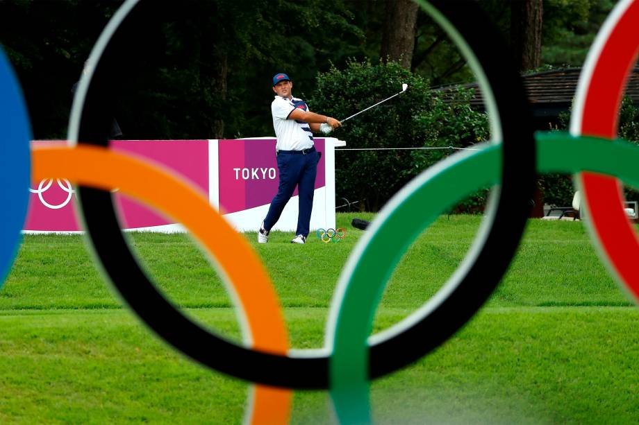 Patrick Reed, dos Estados Unidos, durante partida de golfe, no Kasumigaseki Country Club -