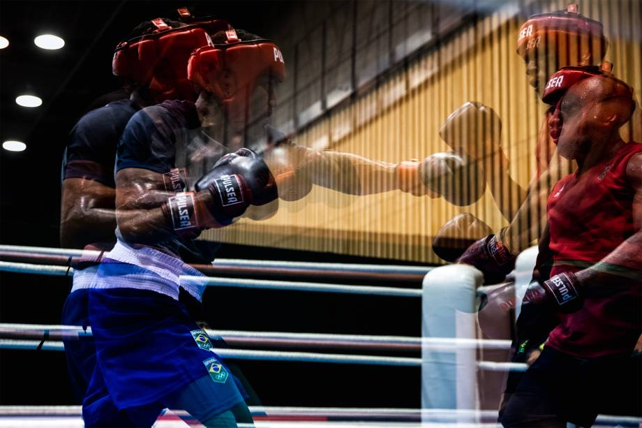 Treino da equipe brasileira de boxe masculino -