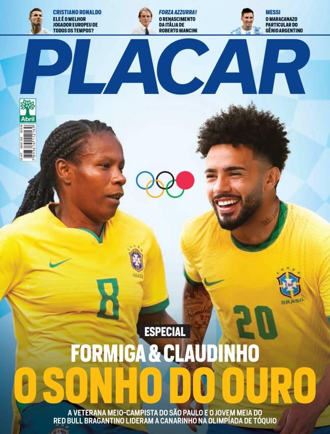 Formiga e Claudinho na capa da edição de julho da Revista Placar -
