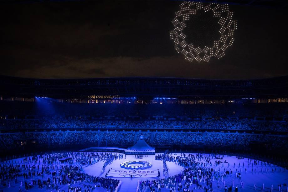 Cerimônia de abertura das Olimpíadas no estádio olímpico de Tóquio -