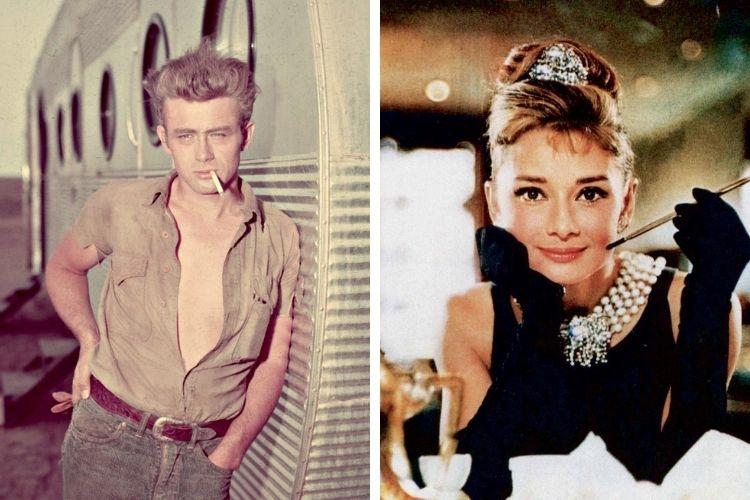 FASCÍNIO - O cigarro em Hollywood: fumar era obrigatório para celebridades como o bad boy James Dean e a elegante Audrey Hepburn, no filme Bonequinha de Luxo -