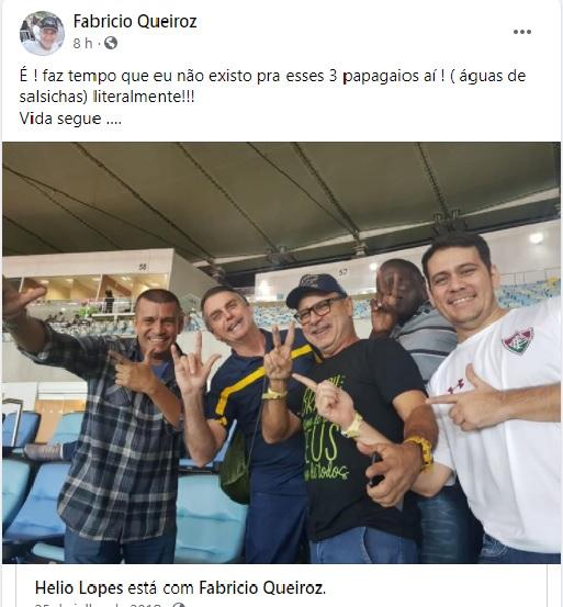 Fabrício Queiroz reclama de bolsonaristas no Facebook