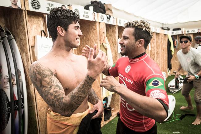 Italo Ferreira (BRA) and Gabriel Medina (BRA) after Italo eliminated Gabriel from the event at the MEO Rip Curl Pro Portugal 2018 (Photo by Damien Poullenot/World Surf League via Getty Images)