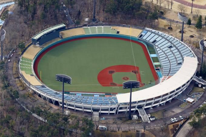 Vista aérea do Azuma Stadium, em Fukushima