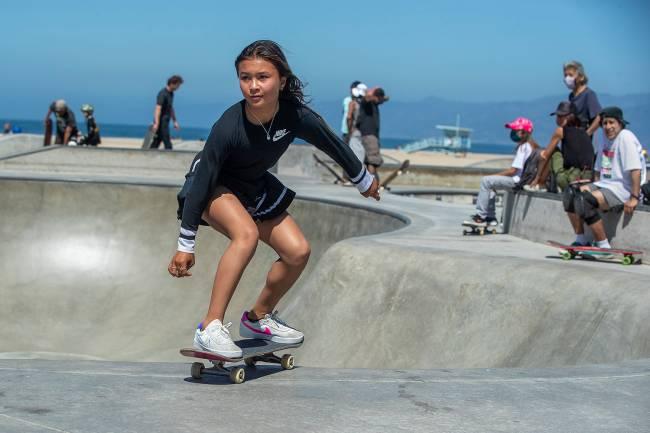 Sky Brown, 12, of Huntington Beach, skateboards at the Venice Beach Skate Park. (Mel Melcon / Los Angeles Times via Getty Images)