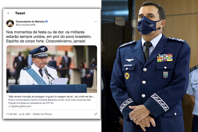 """REAÇÃO -O comandante da Aeronáutica, Carlos Baptista, e o tuíte do comandante da Marinha, Almir Garnier: """"alerta"""" -"""
