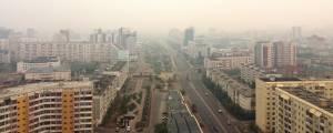 Yakutsk, na Rússia, completamente encoberta pela fumaça dos incêndios florestais