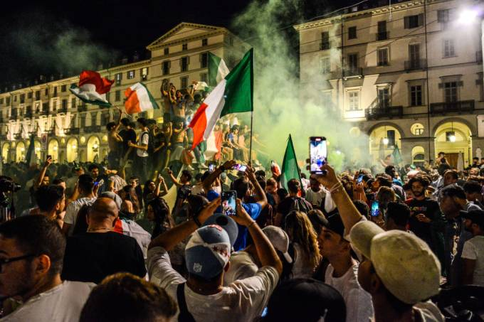 People celebrate the victory of the final of EURO 2020 Italy