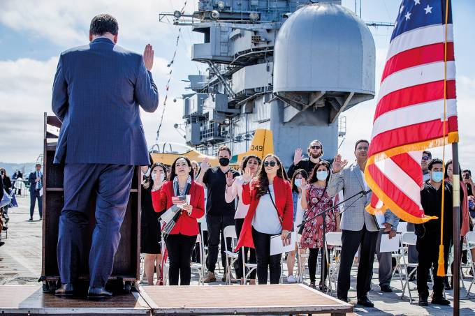 Naturalization ceremony at the USS Hornet Museum