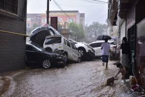 Enchente em Zhengzhou, capital da província de Henan, na região central da China. 20/07/2021