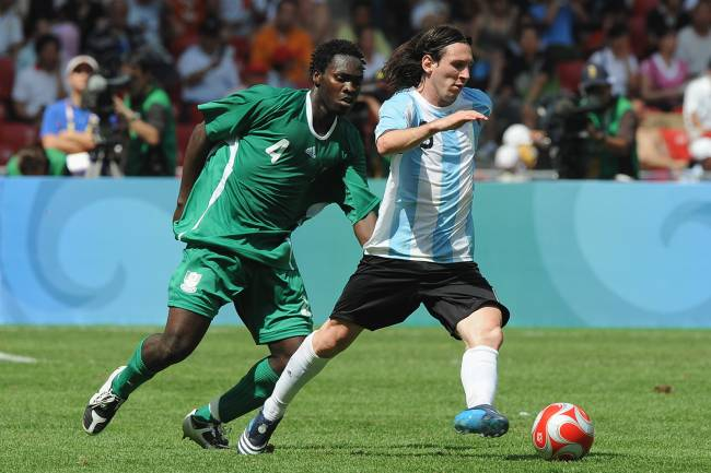 Lionel Messi during the men's gold match of football event between Nigeria and Argentina at Beijing 2008 Olympic Games in the National Stadium, known as the Bird's Nest, in Beijing, China. (Photo by liewig christian/Corbis via Getty Images)