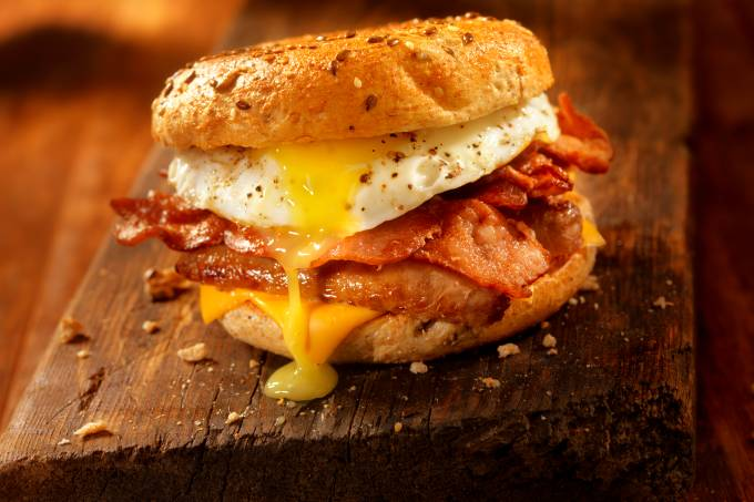 Bagel, Bacon, Sausage and Egg Breakfast Sandwich