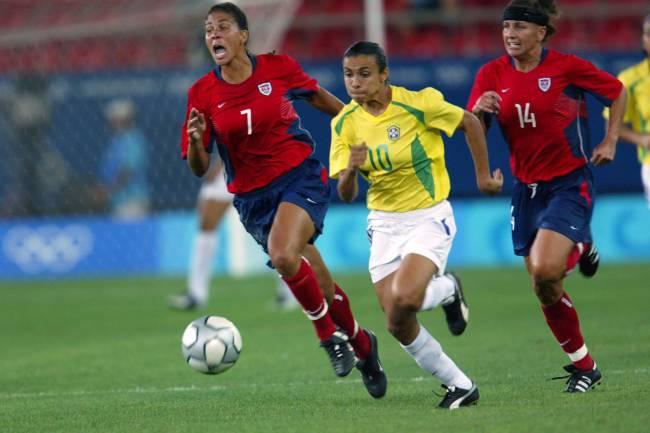 Marta e Shannon Boxx dividem: foi a primeira Olimpíada da Rainha