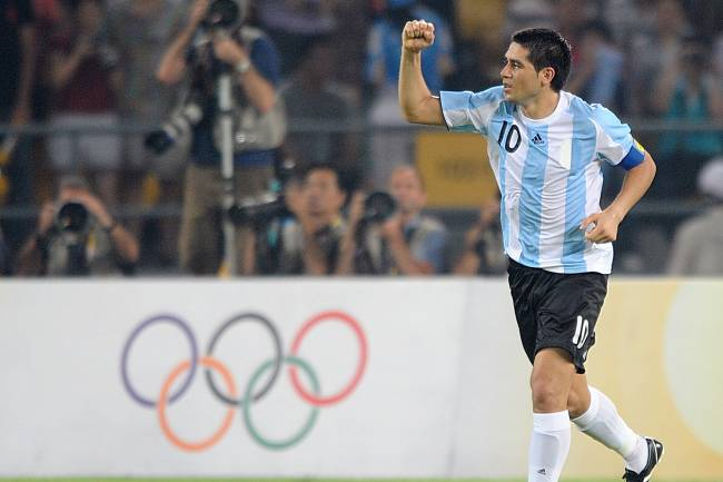 Argentina's Juan Riquelme celebrates scoring his sides third goal of the game (Photo by Tony Marshall - PA Images via Getty Images)