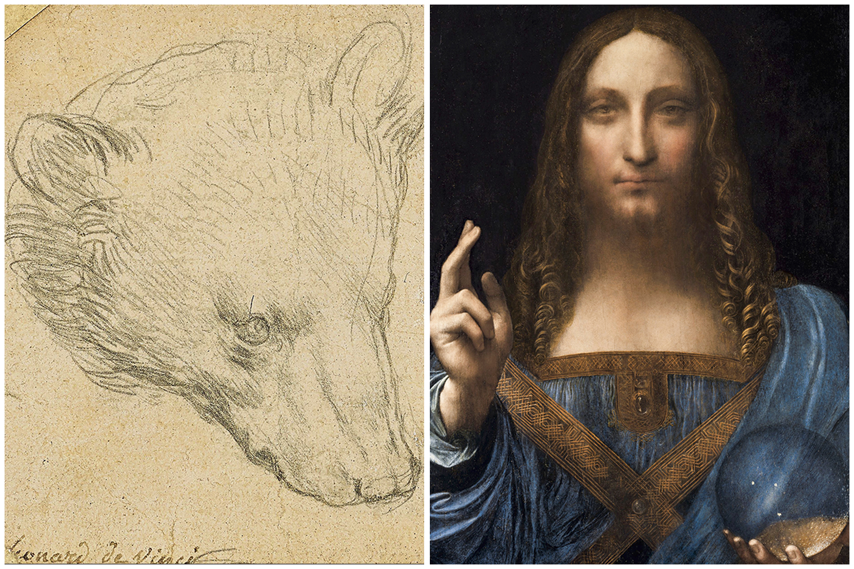 MICRO E MACRO - O desenho Cabeça de um Urso (à esq.) e o recordista Salvator Mundi: mistérios -