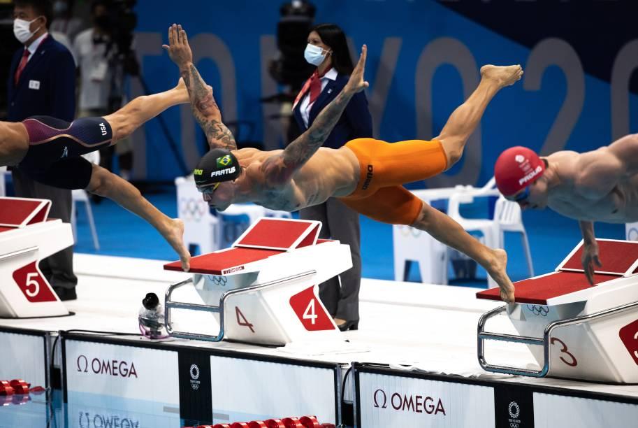 Bruno Fratus durante mergulho na prova dos 50m nado livre -