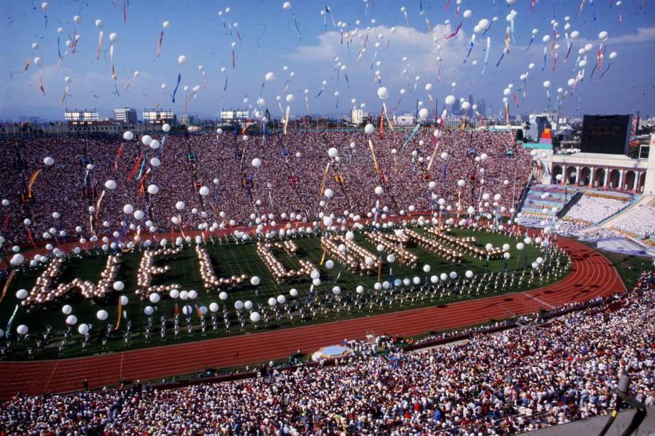 Cerimônia de Abertura dos Jogos Olímpicos de Los Angeles, em 1984 -