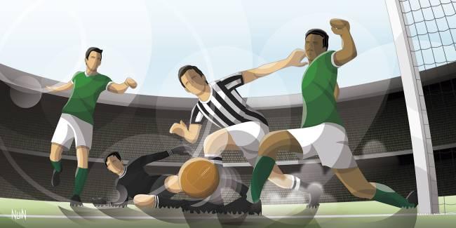 Gol do Palmeiras contra a Juventus, em 1951, recriado por Pedro Nuin