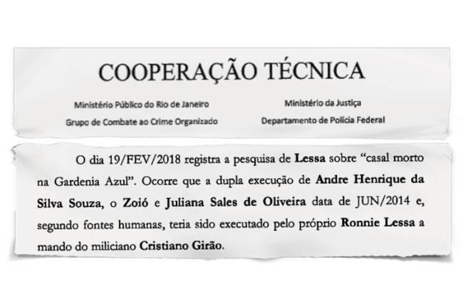 SEMELHANÇAS -Denúncia: morte de casal em 2014, que teria como executor Ronnie Lessa, envolve Girão e pode ajudar a elucidar o caso da vereadora morta -